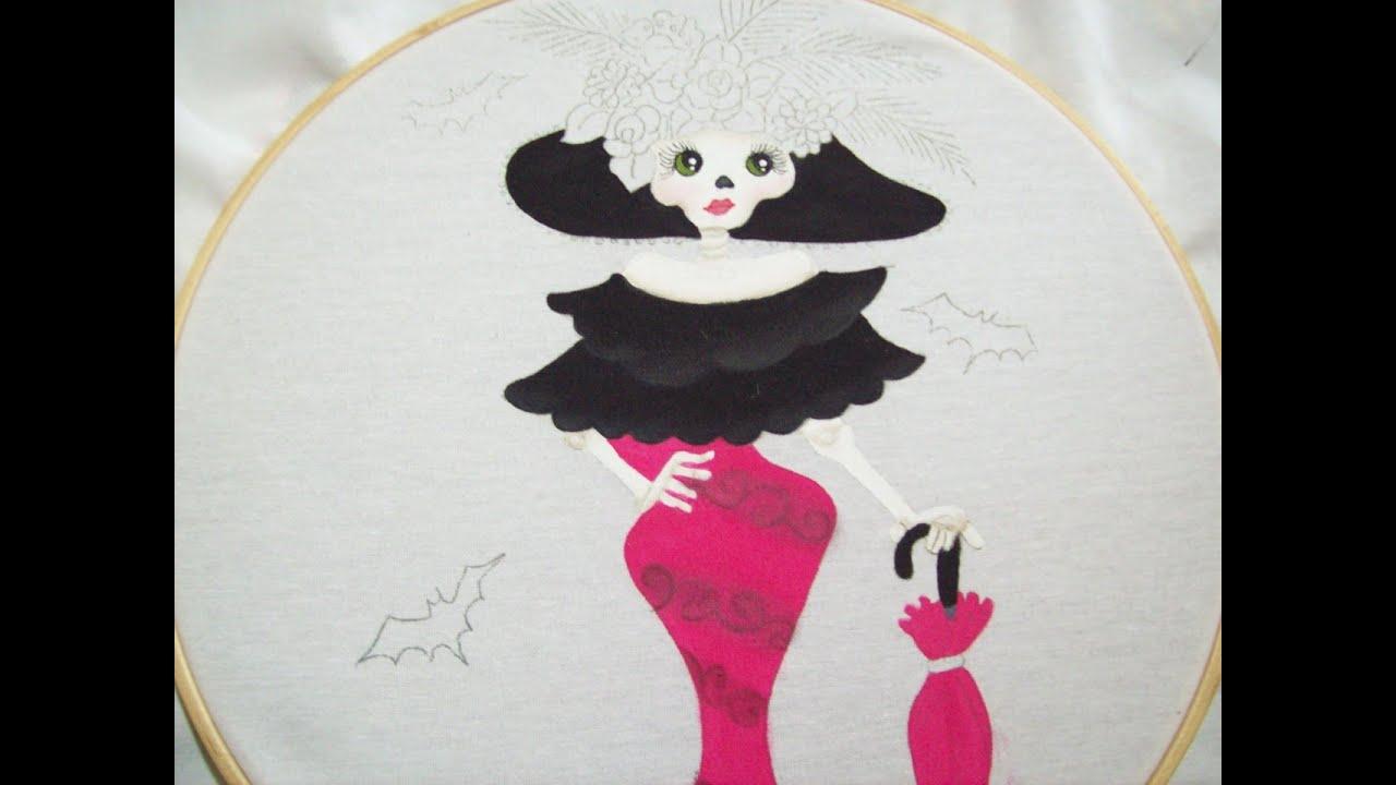 109 como pintar una catrina parte 2 pintura textil - Unas modelos para pintar ...