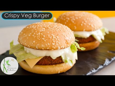McVeggie Style Burger Recipe | Crispy Veg Burger Recipe ~ The Terrace Kitchen
