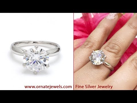 Designer 925 Silver Solitaire Ring Online 2019