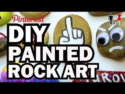 DIY Painted Rock Art - Man vs Pin - видео онлайн