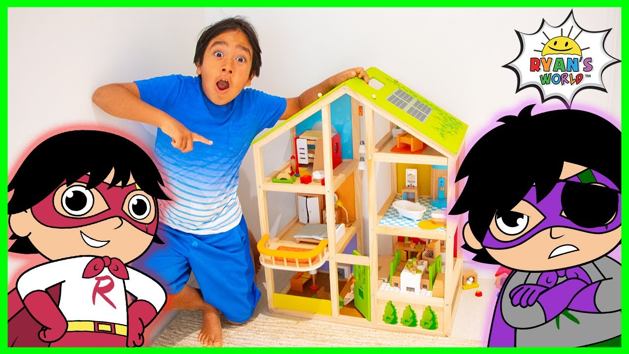 Download Ryan Plays with Giant Doll House  Superhero Story