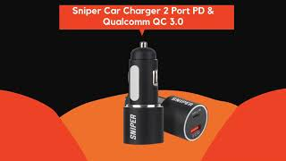Sniper Car Charger 2 Port PD & Qualcomm QC 3.0 Fast Charge