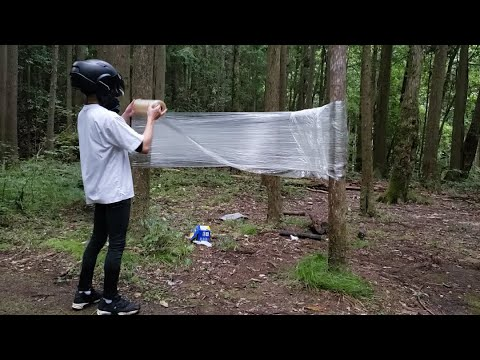 超長いラップでハンモック作ってキャンプしたら白骨化した何かが…