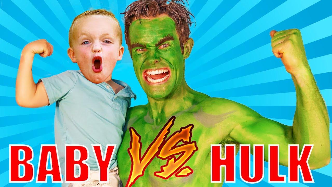 Baby vs Hulk Superhero Babysitter!