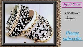 How to make silk thread bangles with gold drop chain    zig zag silk thread bangles