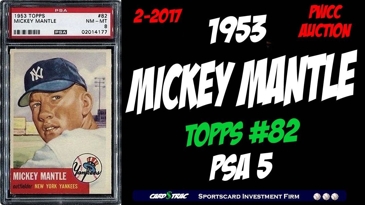 1953 Mickey Mantle Topps 82 Card For Sale Graded Psa 5 1953 Mickey Mantle Card