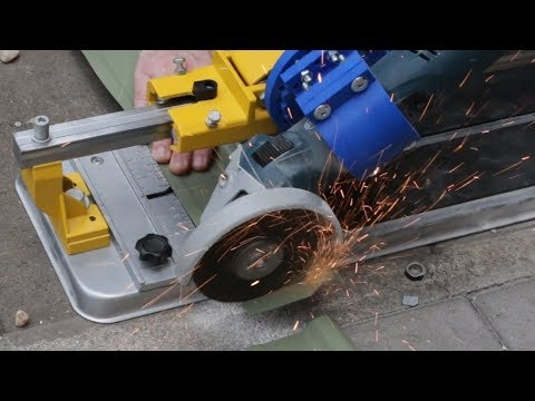angle grinder fitted to a sliding tile cutter