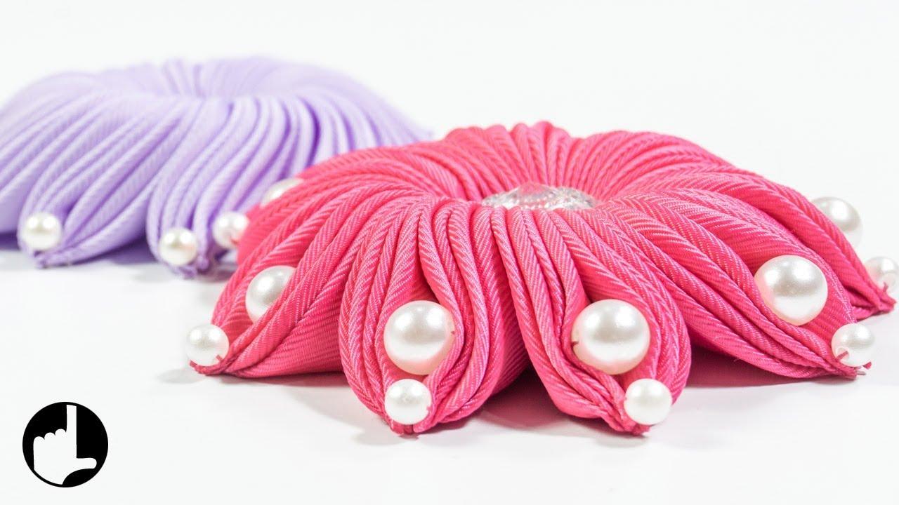 Diy Ribbon Flower Art And Craft Ideas By Handiworks 124 Youtube