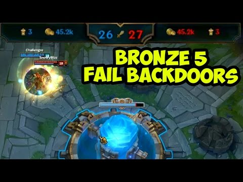 FAIL BACKDOORS. BRONZE V. 100G TEAM DIFFERENCE - Bronze spectates League of Legends