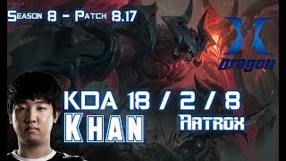 KZ Khan AATROX vs IRELIA Top - Patch 8.17 KR Ranked