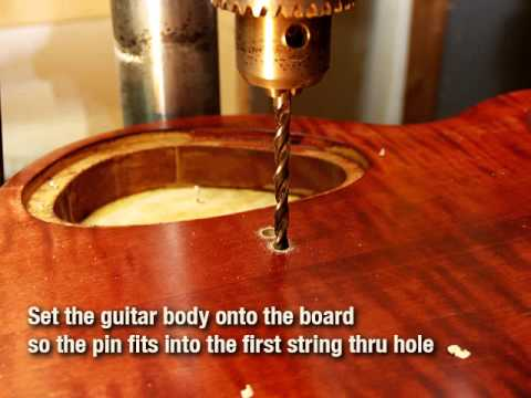 how to drill perfectly straight holes for string through ferrules on an electric guitar youtube. Black Bedroom Furniture Sets. Home Design Ideas
