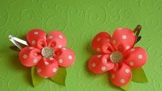 Радостный цветок канзаши на заколке клик-клак / Joyful flower kanzashi