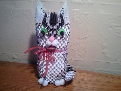 How to make 3D origami cat