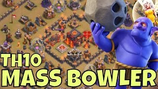One of CWA Mobile Gaming's most viewed videos: BOWLER 3 Star Strategy TIPS at TH10 [RING BASES] Clash Of Clans Attacks