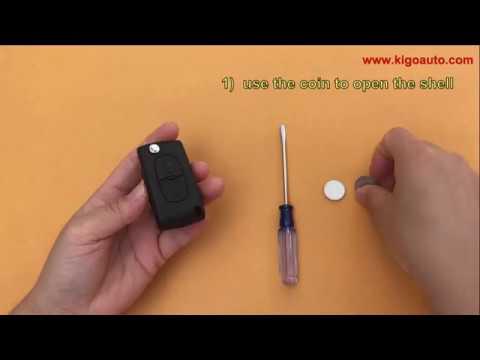 CE0536 flip key 2 button HU83 434Mhz ASK PCF7961 chip for Peugeot Citroen 107 207 307 407