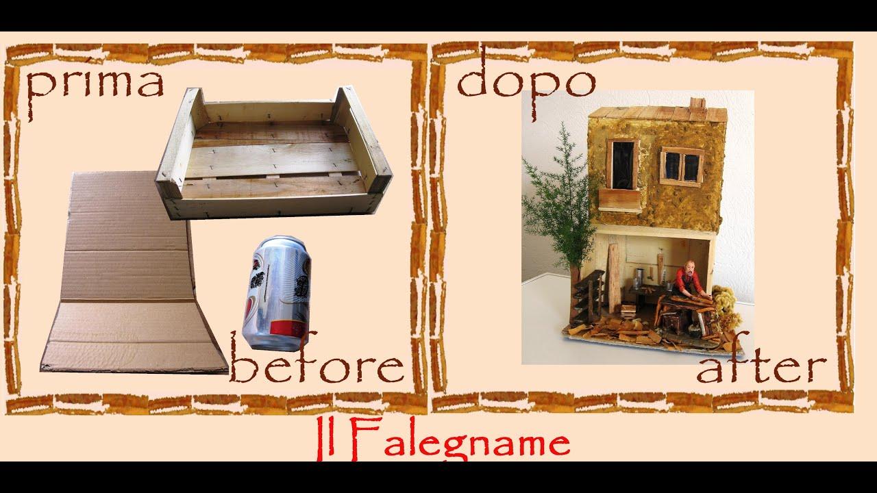 Riciclo Creativo Cartone Legno Lattina Casetta Presepe