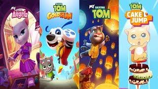 Talking Tom Gold Run - My Talking Tom vs My Talking Angela vs Talking Tom Cake Jump Gameplay 2018