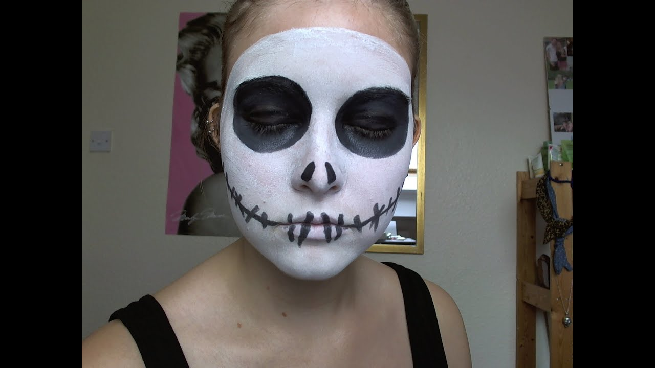 Halloween - Jack Skellington Make Up Tutorial - YouTube