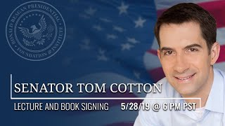 Please join us for a lecture and book signing with united states senator tom cotton on his brand-new book, sacred duty: soldier's tour at arlington nationa...