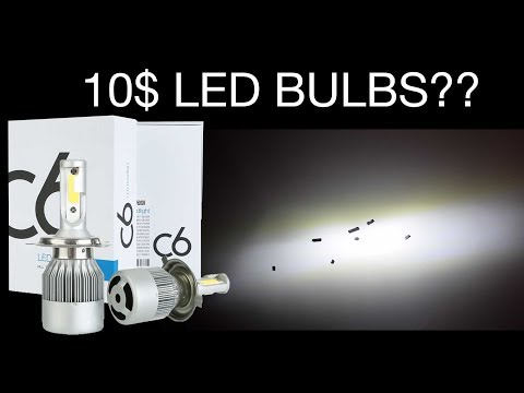 10$ 10800Lumen 120Watt LED Bulb Test - H4 C6 COB Bulbs 6000K