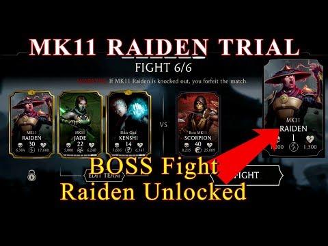 Mortal Kombat Mobile Unlocking MK11 RAIDEN From Trial BOSS Battle