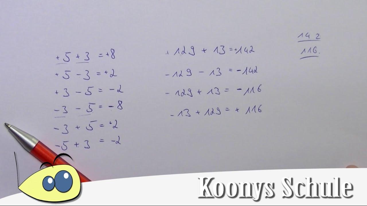 Plus und Minus mit rationalen Zahlen, Eselsbrücke, Addition und ...