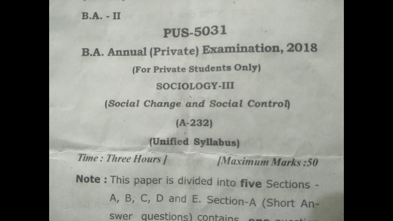 B A 2nd Year Sociology 1st Exam Paper