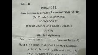 B.A 2nd Year Sociology 1st Exam Paper