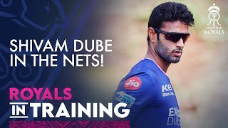 Shivam Dube's first training session with the Royals.