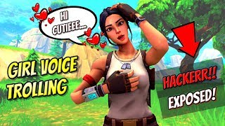 Girl Voice Trolling Aimbot Hacker On Fortnite! (Cheater Exposed!)
