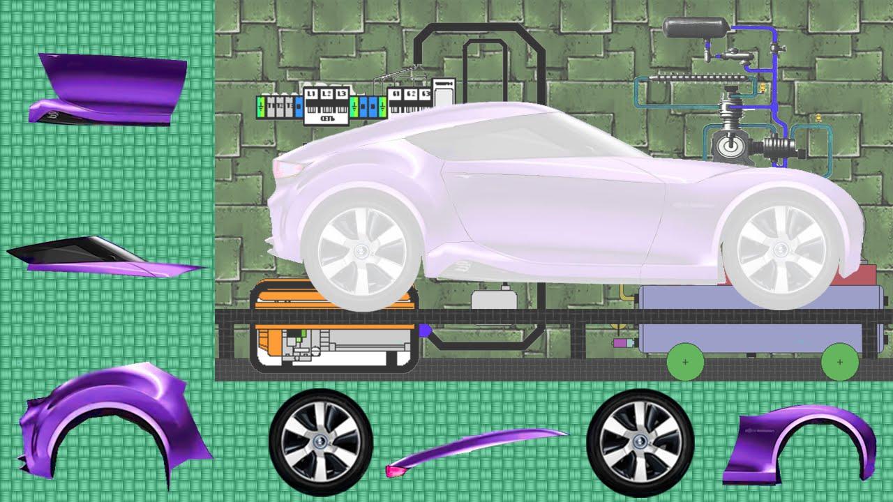 Сборка машины. Гоночная фиолетовая машина. Видео для самых ...