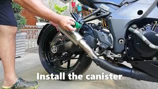 Installing Muffler DB Killer With Catalyst On Kawasaki Z1000R   Orion Muffler   Russ MotoVlog