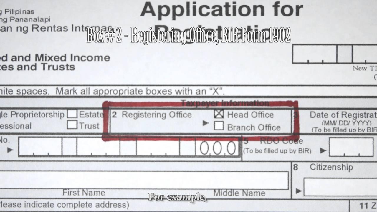 Box 2 Registering Office Bir Form 1901 Youtube