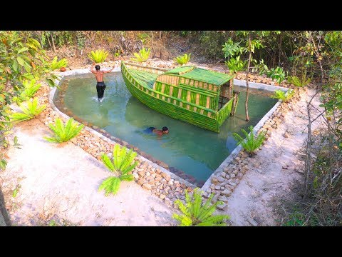 Amazing Build Beautiful Swimming Pool  around Boat House