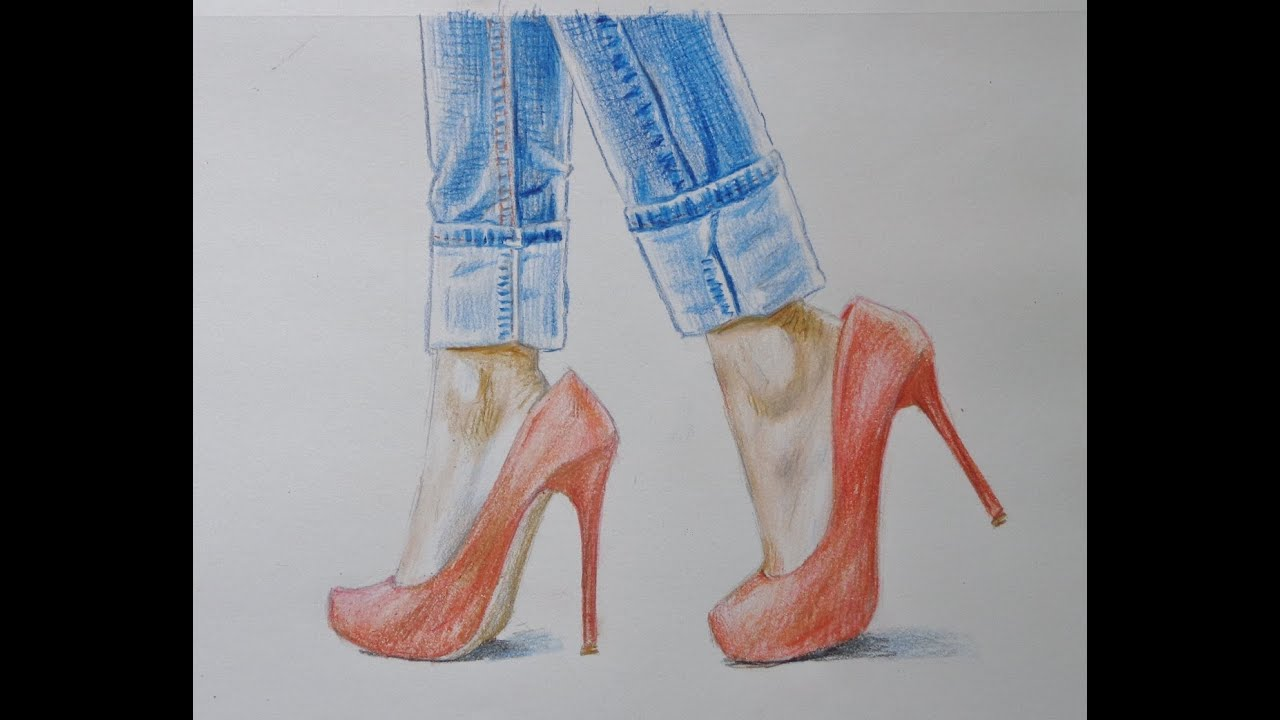 Drawing feet in high heels  YouTube