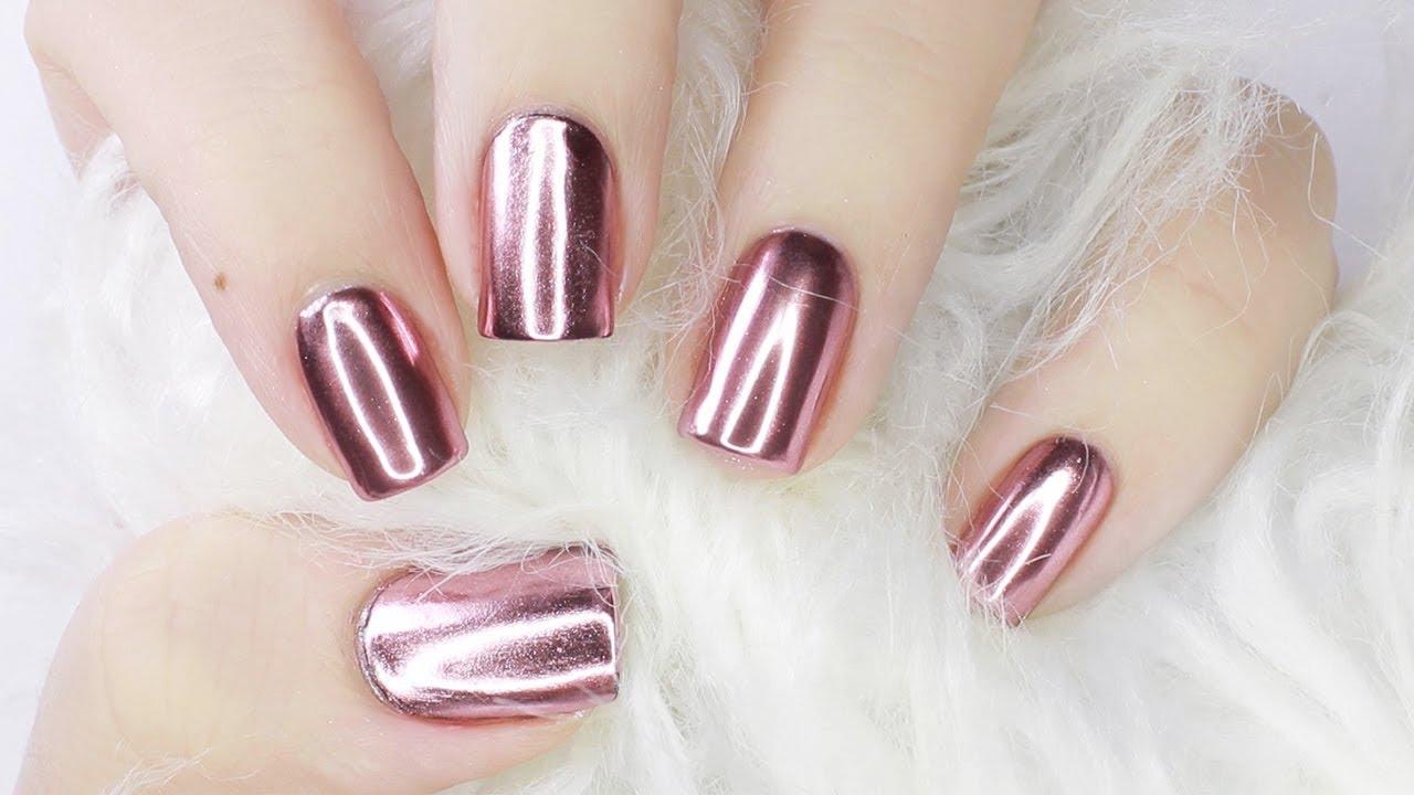 rose gold mirror chrome nails with gel amp regular polish