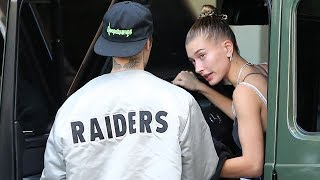 Hailey Baldwin Gives Justin Bieber A Kiss After A Working Out At Selena Gomez's Yoga Studio