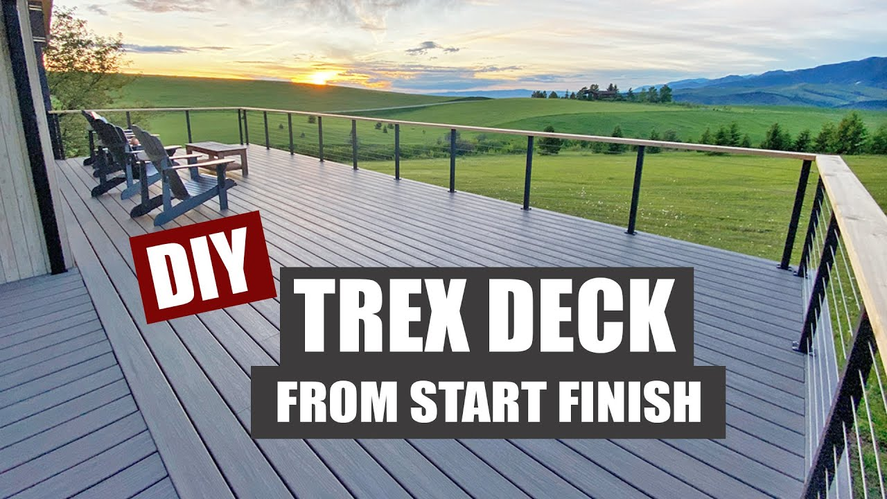 A Trex Deck Transformation | How to build a Deck | Framing | Stairs | Privacy Wall | Cable Railing