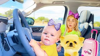 Maggie and little Naomi is in the car going for vacation best series for kids