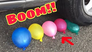EXPERIMENT: CAR VS BALLONS - CRUSHING TOYS,CAR,SLIME,APPLE,REMOTE AND ASMR CRUSH