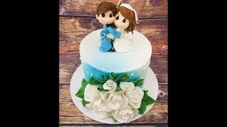 оформление свадебного торта с фигурками жениха и невесты из мастики /how to make a wedding cake