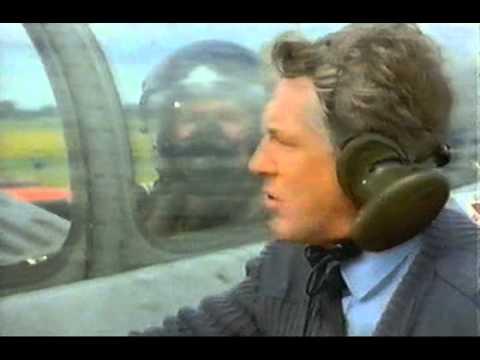 Actress Fiona Dolman In RAF Oxygen Mask And Flight Suit Helmet