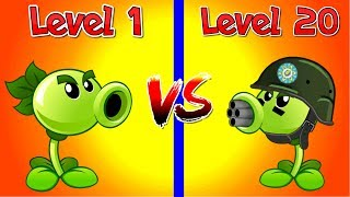 Plants vs Zombies 2 Compare Plants Repeater 1 vs Repeater 20 Level 1 vs Max Level in PVZ 2