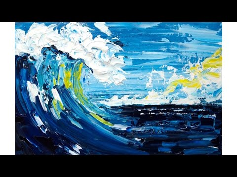 Pallet Knife Seascape  Beginner Acrylic Painting Tutorial Abstract #lovesummerart