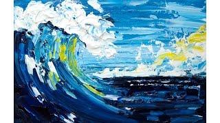 Pallet Knife Seascape  Beginner Acrylic Painting Tutorial Abstract #lovesummerart