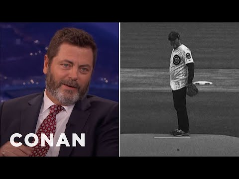Nick Offerman Staged A Silent Movie For His First Pitch  - CONAN on TBS