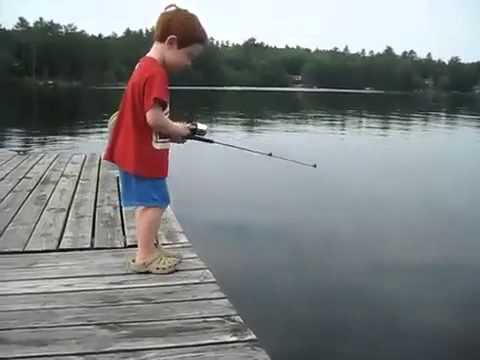 funny kid fishing - the best fisherman ever!