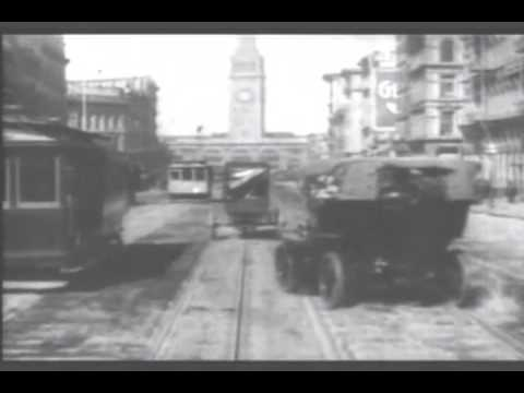 1905 Ride down Market Street with music