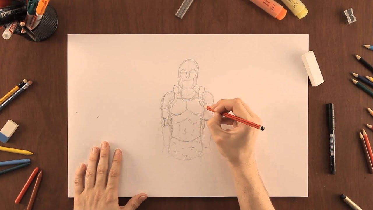 Cómo dibujar una armadura medieval : Dibujos de la Naturaleza - YouTube