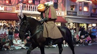 Headless Horseman Rides Pre Parade with Ichabod Crane at Mickey's Halloween Party - Disneyland